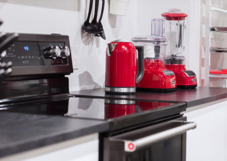 Fully equipped photo studio with small kitchen appliances.