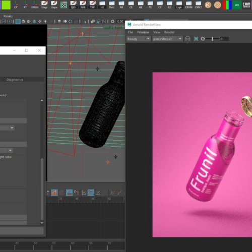 Arnold Rendered Screenshot Bottle 3D